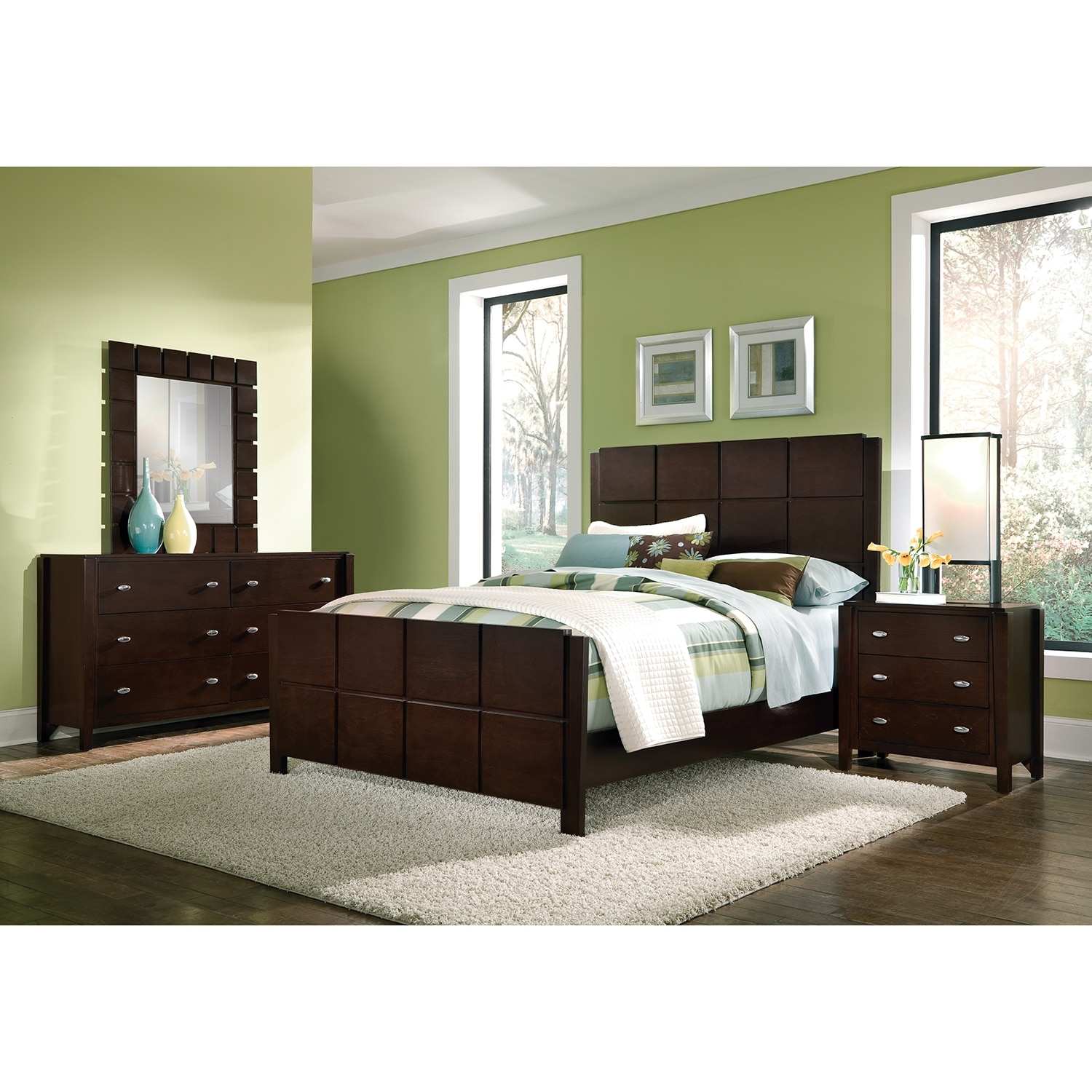 Mosaic 6Piece Queen Bedroom Set  Dark Brown  Value City Furniture