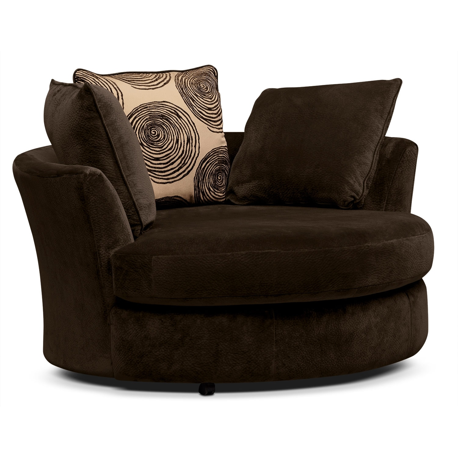 swivel chair in living room chiropractic wobble catalina chocolate 2 pc w
