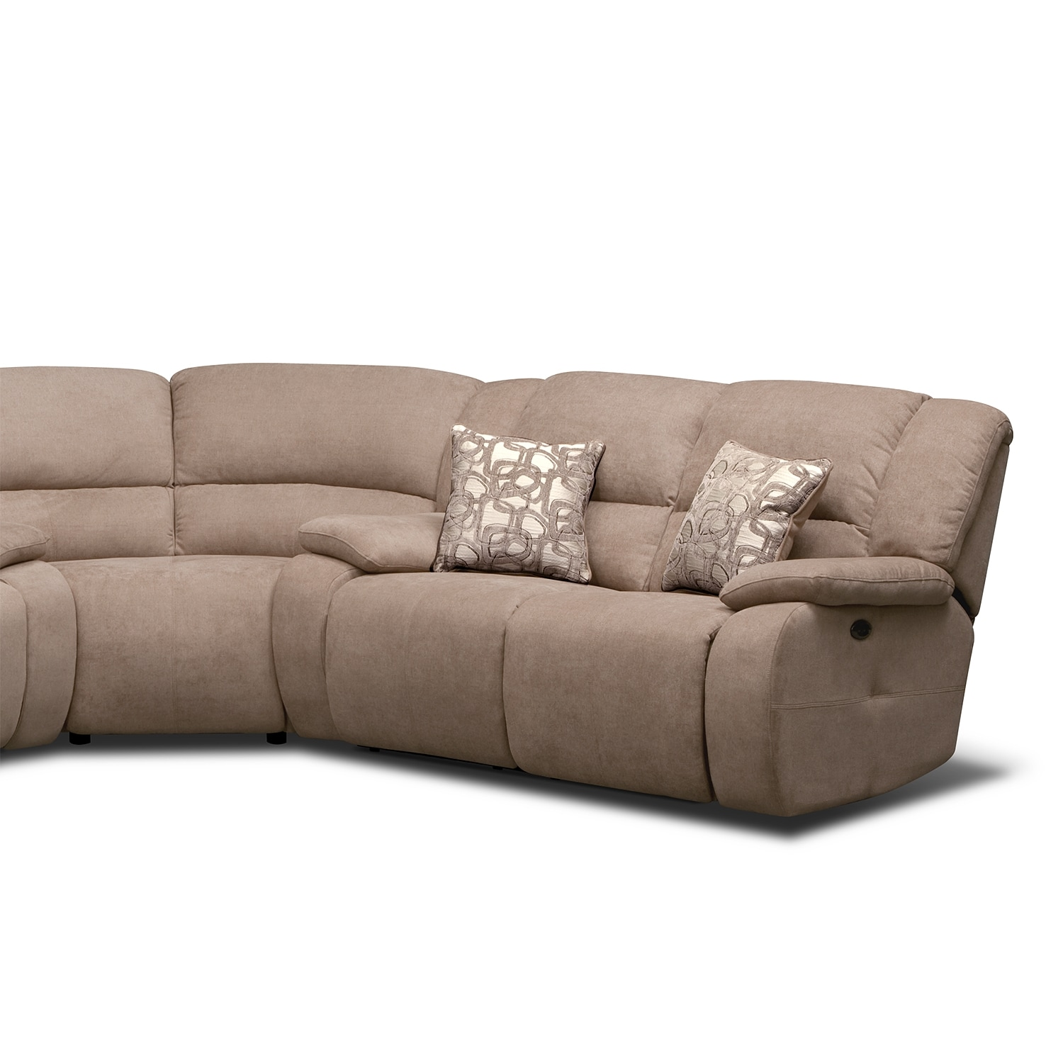 justin ii fabric reclining sectional sofa the most comfortable sleeper fortuna beige 3 pc power