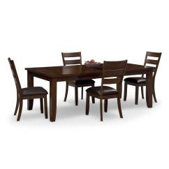 Value City Dining Table And Chairs Reclining Camping Chair Abaco 4 Brown Furniture