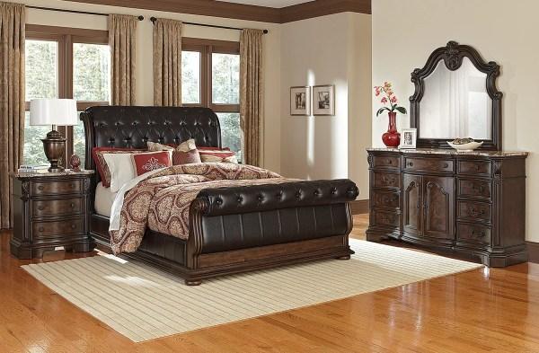 Monticello 6-piece King Sleigh Bedroom Set - Pecan