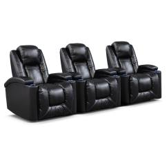 Home Theater Reclining Sectional Sofa Modern Leather Sleeper Frisco Ii 3 Pc Power