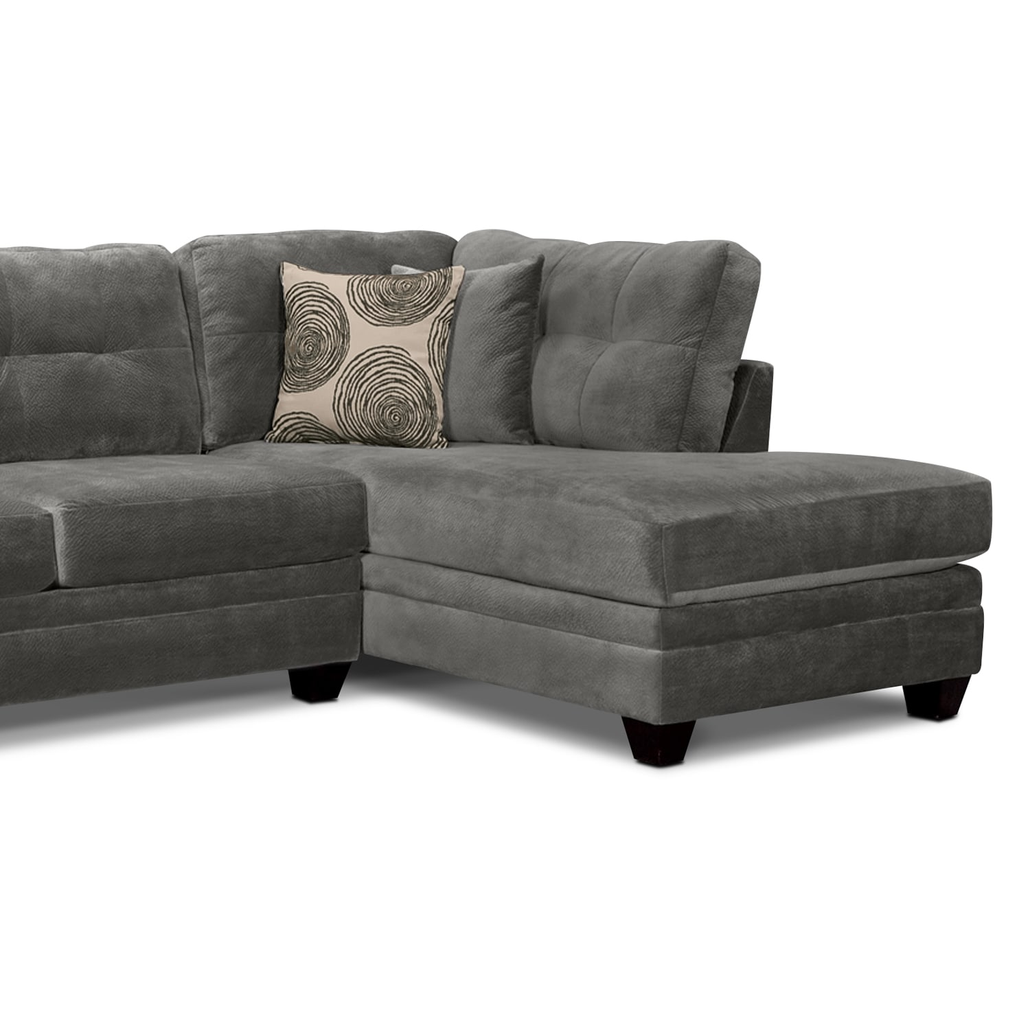 value city furniture marco chaise sofa sears sofas cordelle 2 piece right facing sectional gray