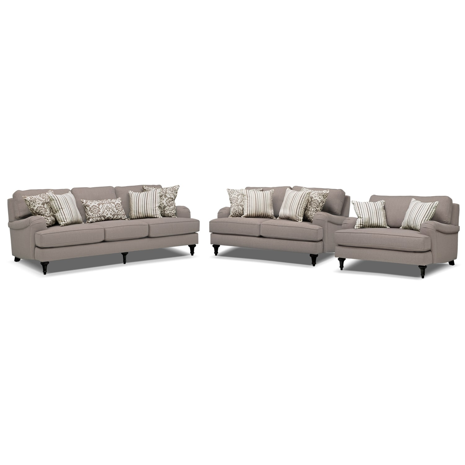 loveseat and chair a half toddlers rocking candice sofa set gray