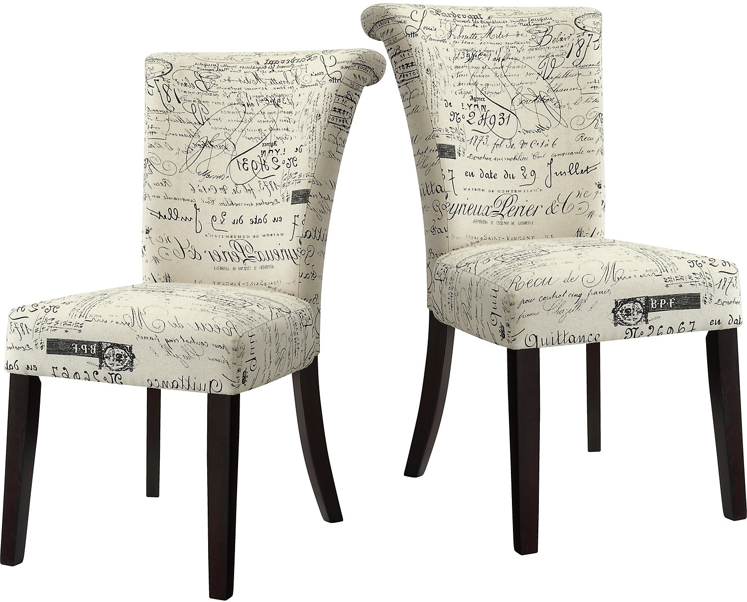 French Script Chair French Script 2 Piece Accent Dining Chair Package The Brick