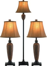 Hammered Bronze 3-Piece Floor and Two Table Lamps Set ...
