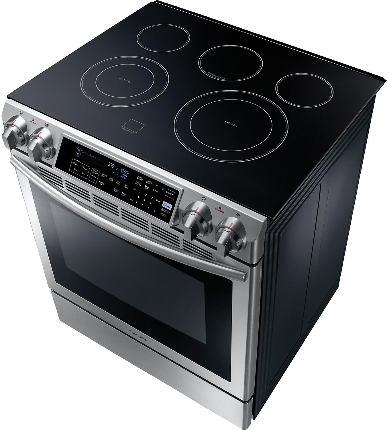 electric stove 3 way tacker samsung 5 8 cu ft slide in range stainless