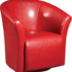 Accent Swivel Chairs Chair Cushion Covers Australia Ethan Red Faux Leather The Brick