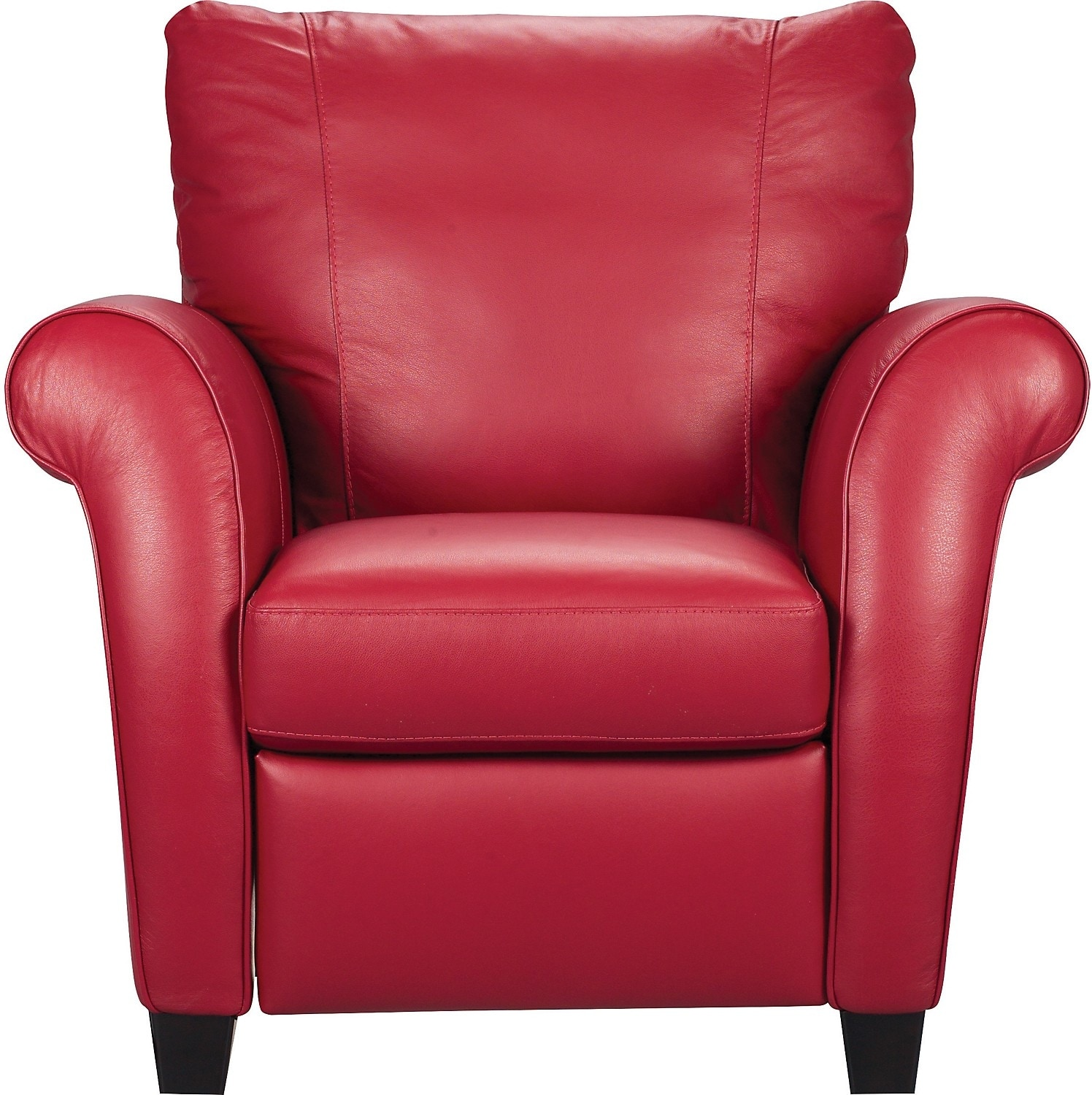 Real Leather Recliner Chairs Layla Genuine Leather Reclining Chair Red The Brick