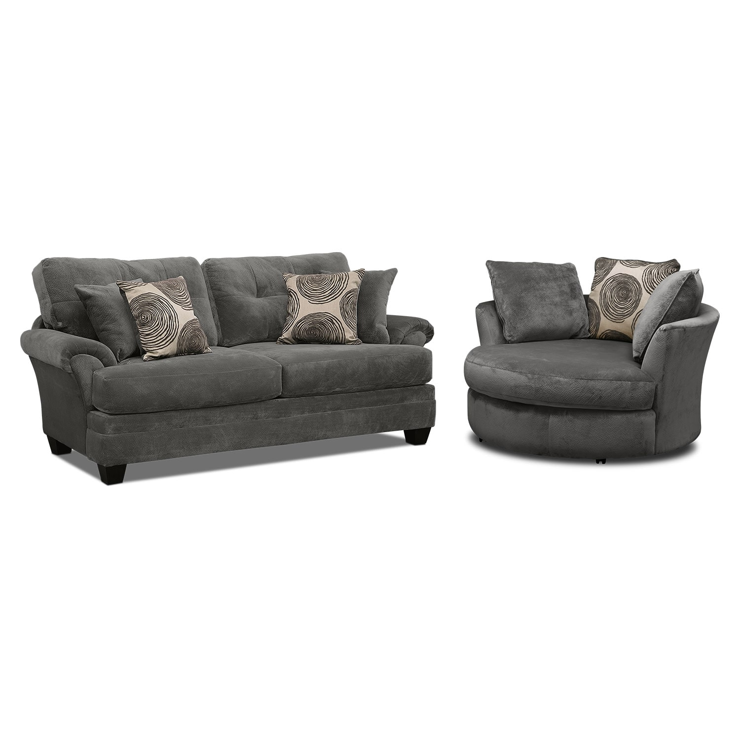 swivel chair value city cosco high manual cordoba gray upholstery 2 pc living room w