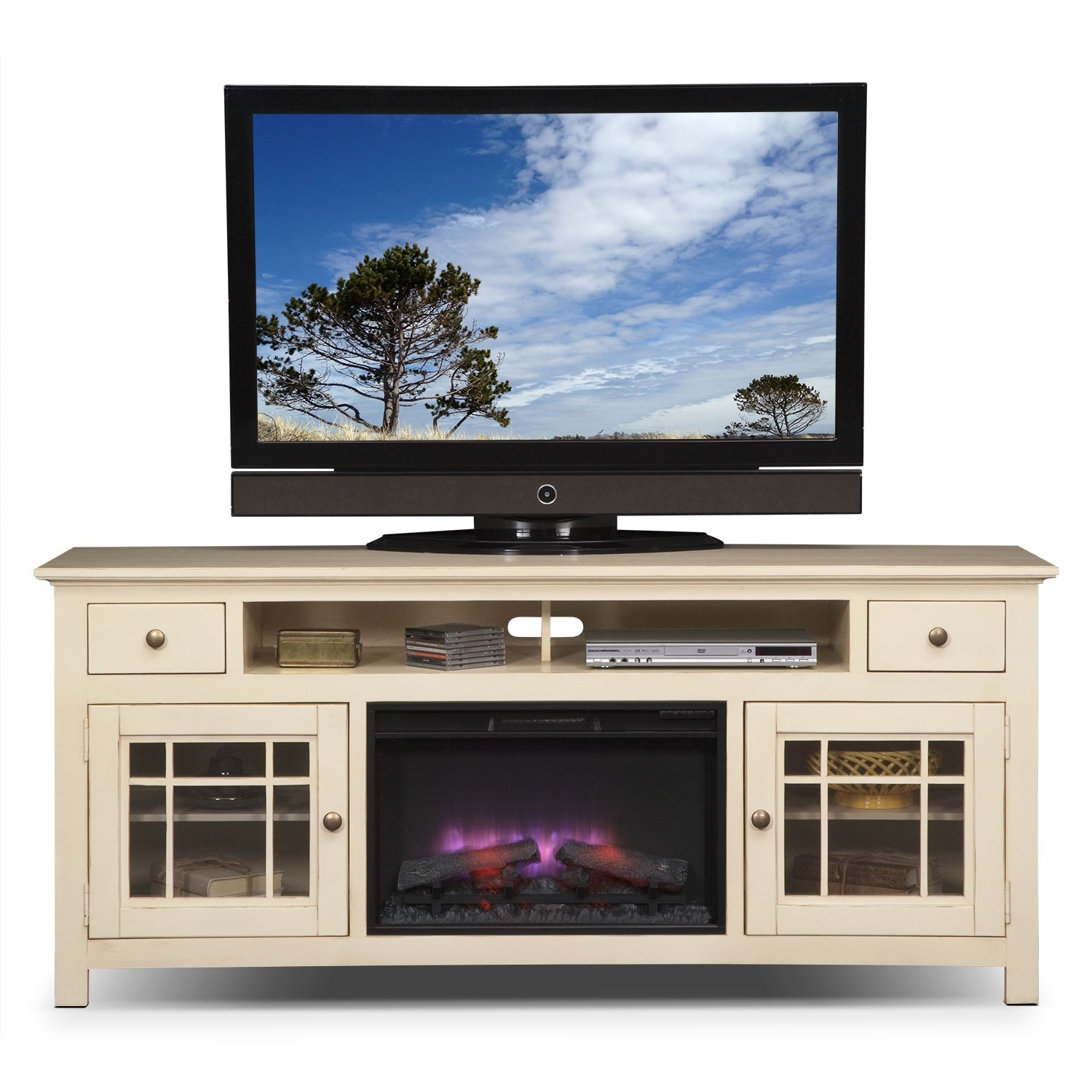 "Fireplace Tv Stand Black Friday Deals Merrick White 74"" Fireplace Tv Stand 