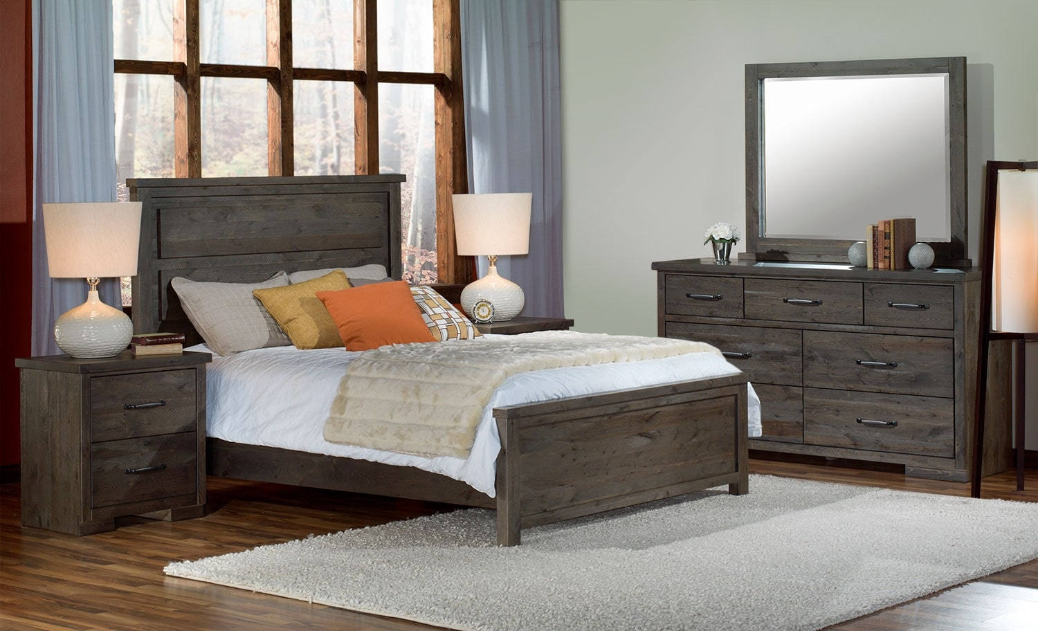 Pine Ridge 5Piece King Bedroom Set  Slate  Leons