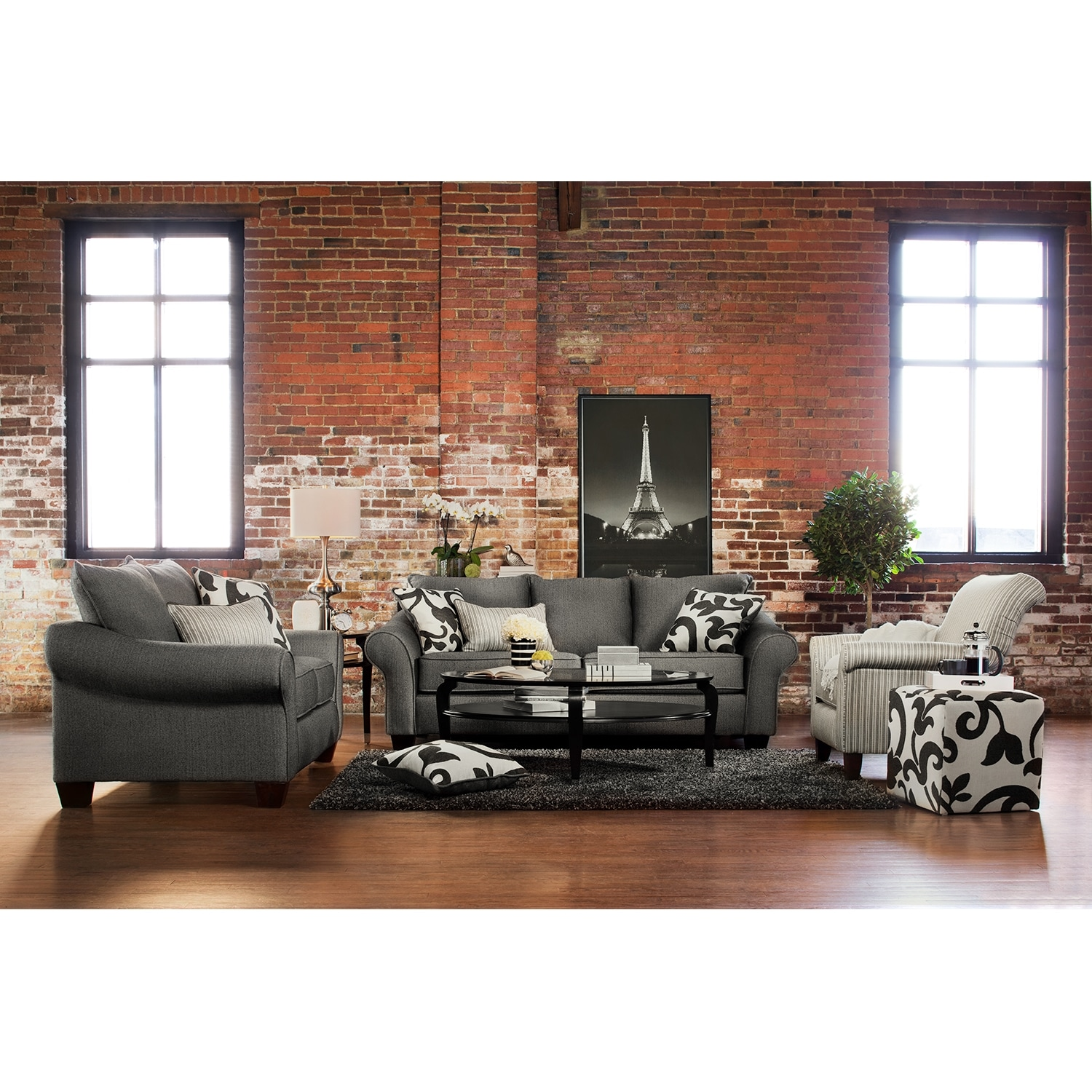 Grey Living Room Chairs Colette Sofa Loveseat And Accent Chair Set Gray Value