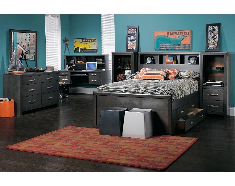 Dessy Junior Full Storage Bed Charcoal Leons