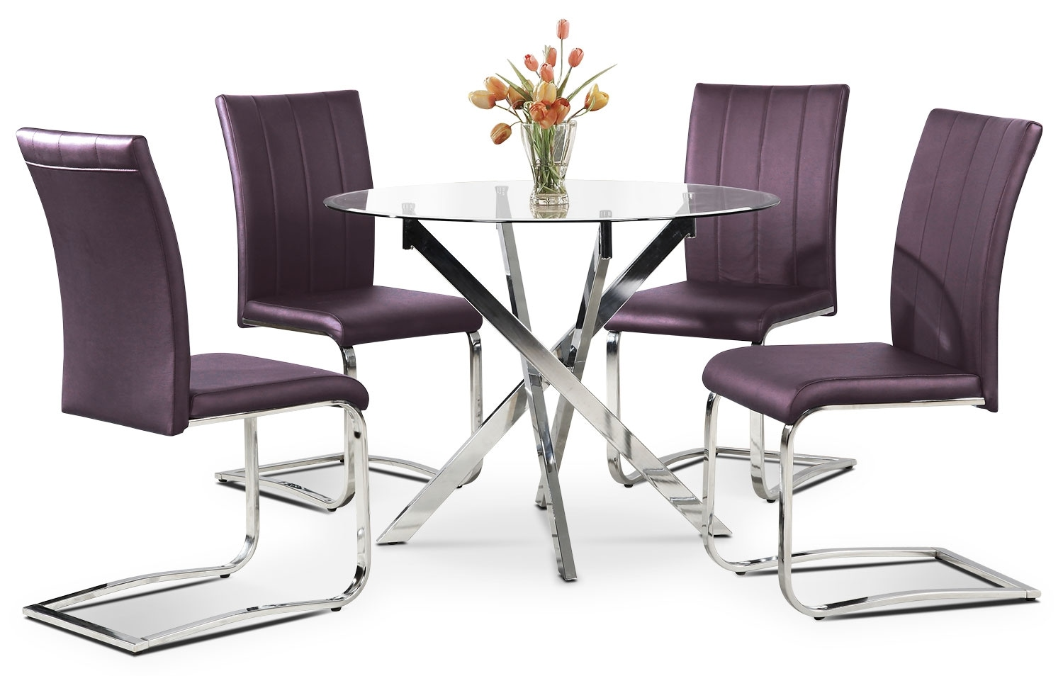 Purple Dining Room Chairs Tori 5 Piece Dining Package Purple The Brick
