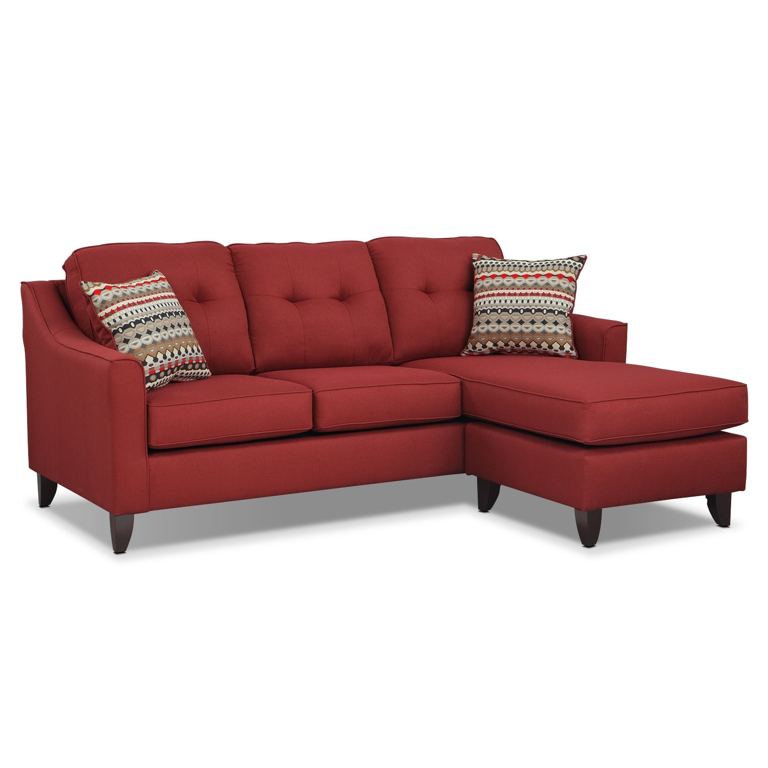 value city furniture marco chaise sofa bed matress - red |