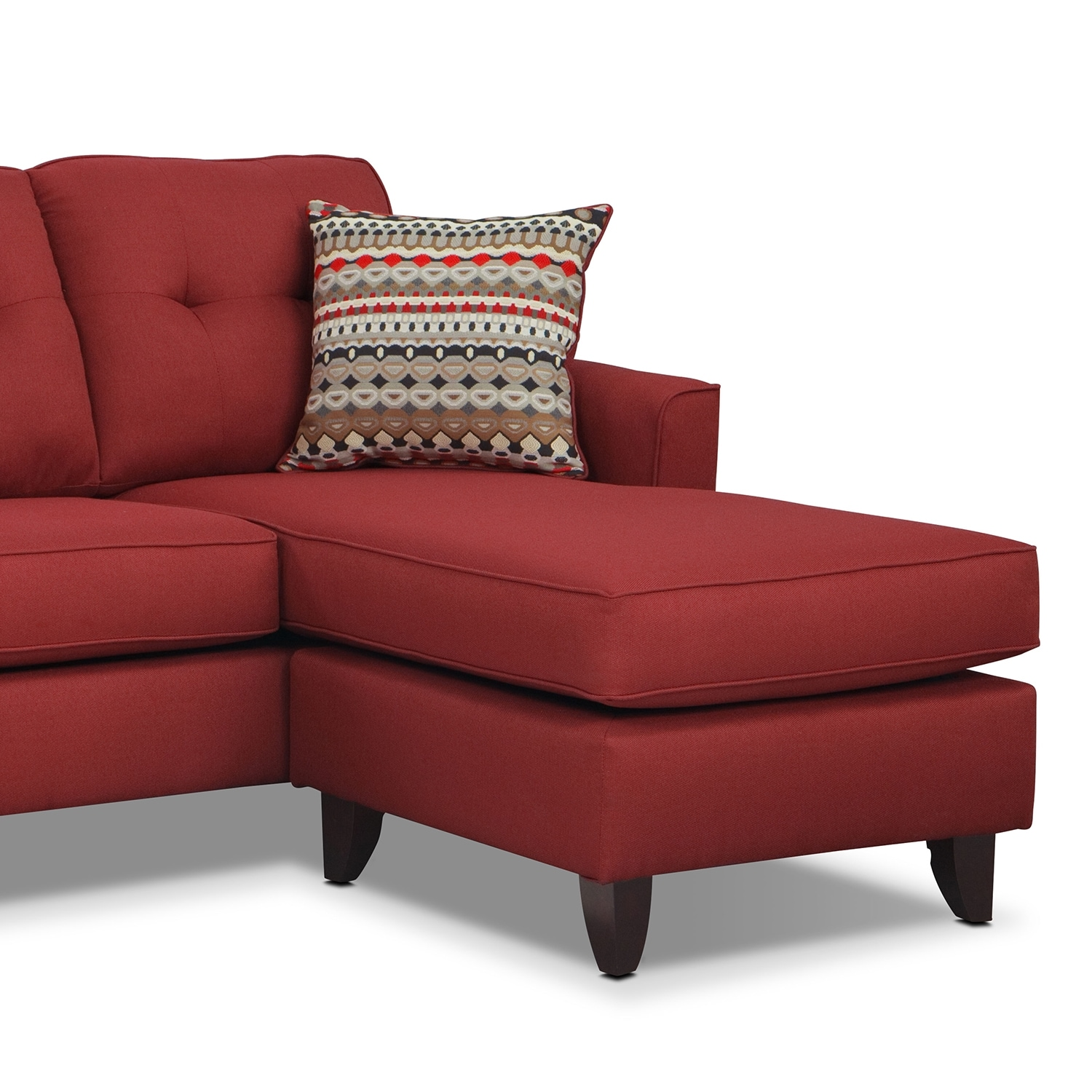 value city furniture marco chaise sofa murphy 3 seater dfs red