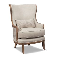 Beige Accent Chairs Saucer Moon Chair Marquette Framed Furniture