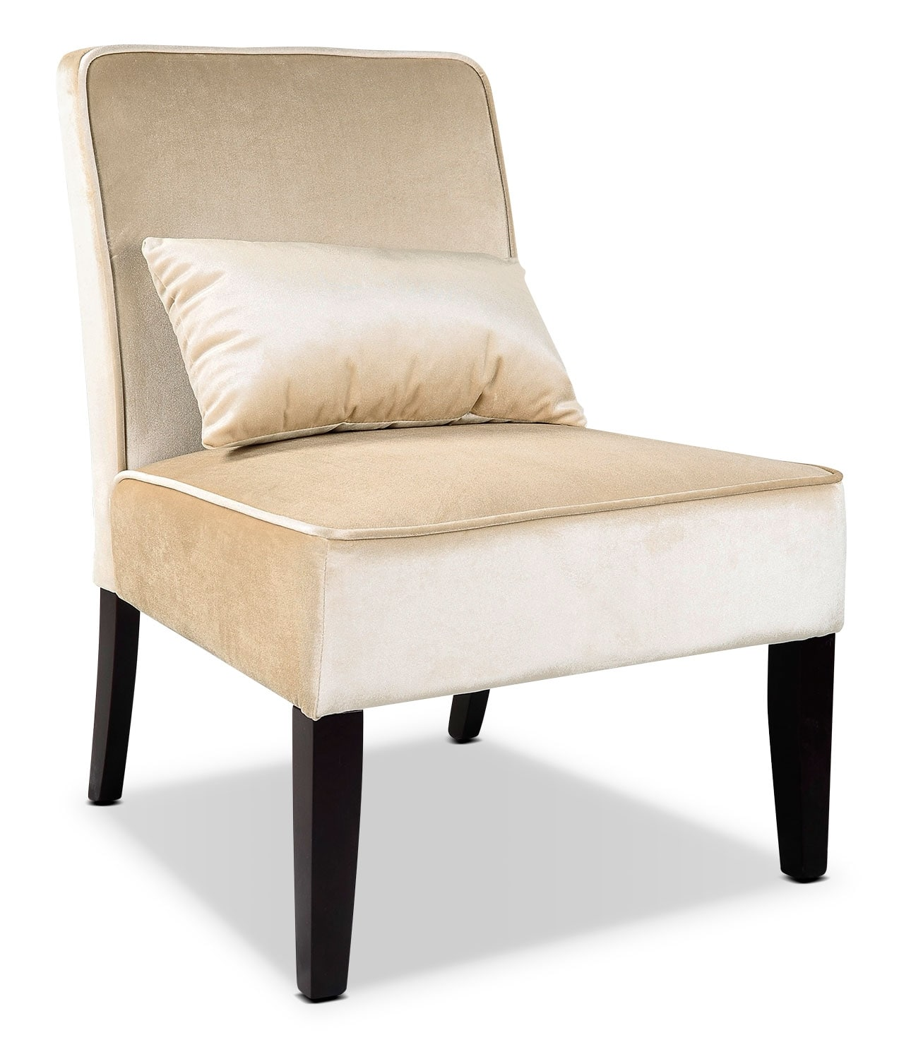 Cream Chairs Lad Velvet Fabric Accent Chair With Accent Cushion Cream