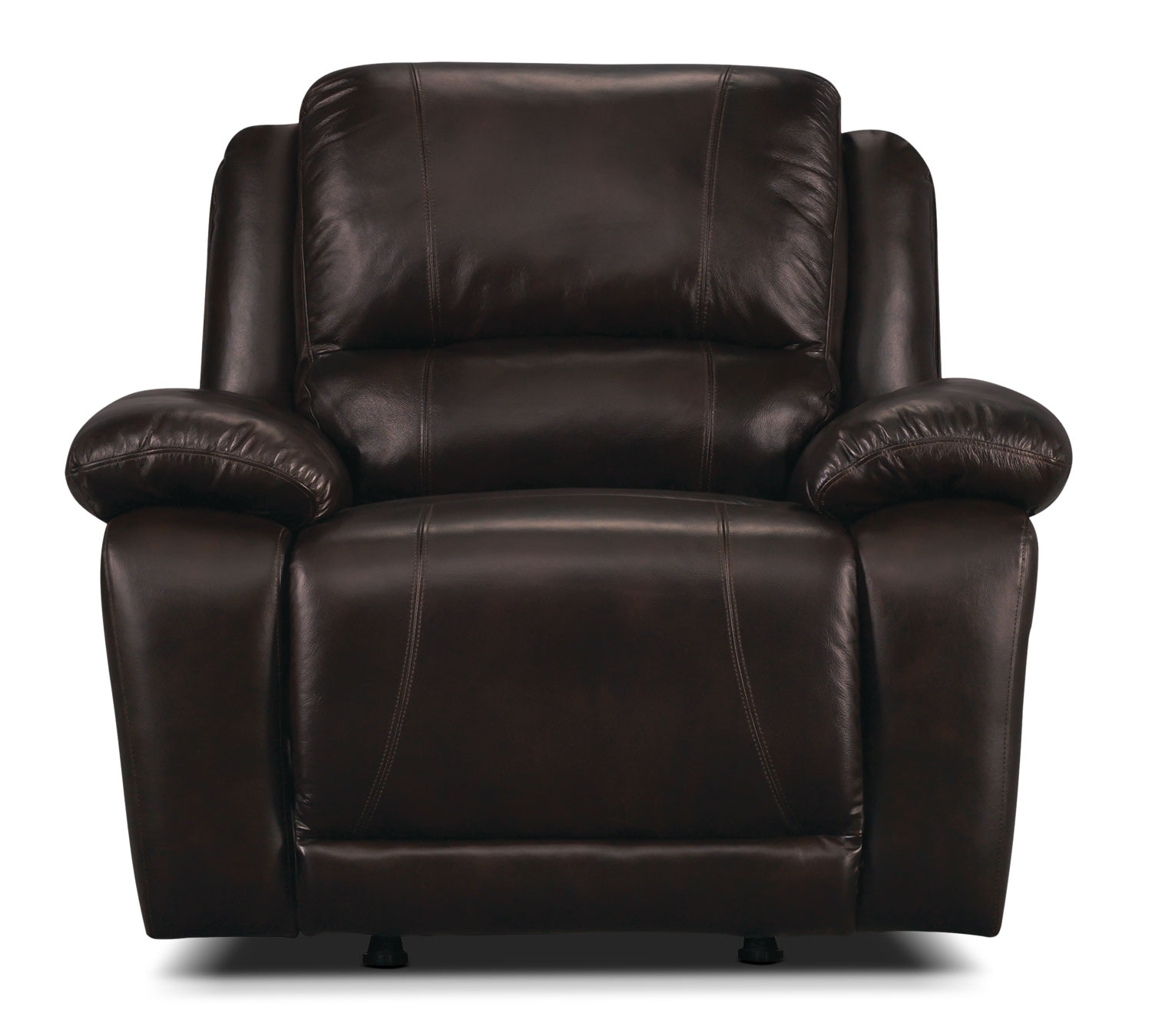 genuine leather chair 24 hour office chairs marco rocker reclining chocolate