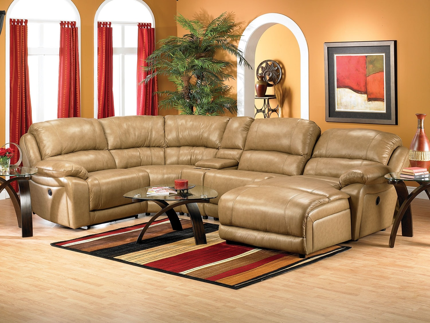 the brick cindy crawford reclining sofa cheap sofas south africa marco genuine leather 5 piece sectional with right facing