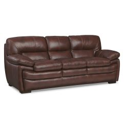 Chestnut Colored Leather Sofa Red Accent Pillows For Peyton American Signature Furniture