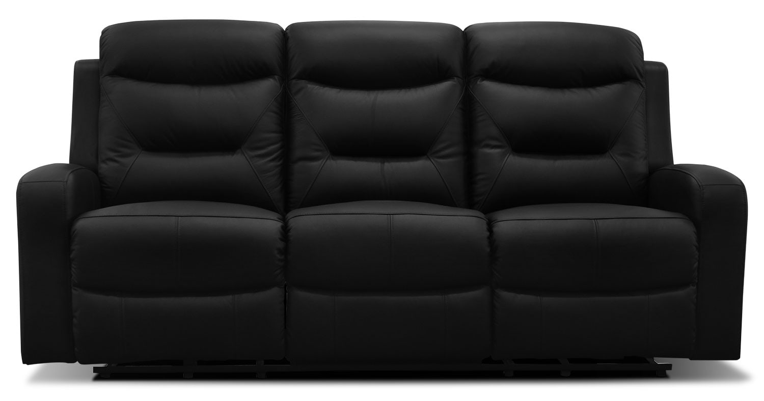 genuine leather power reclining sofa how do i fix cat scratches on my river  black the brick