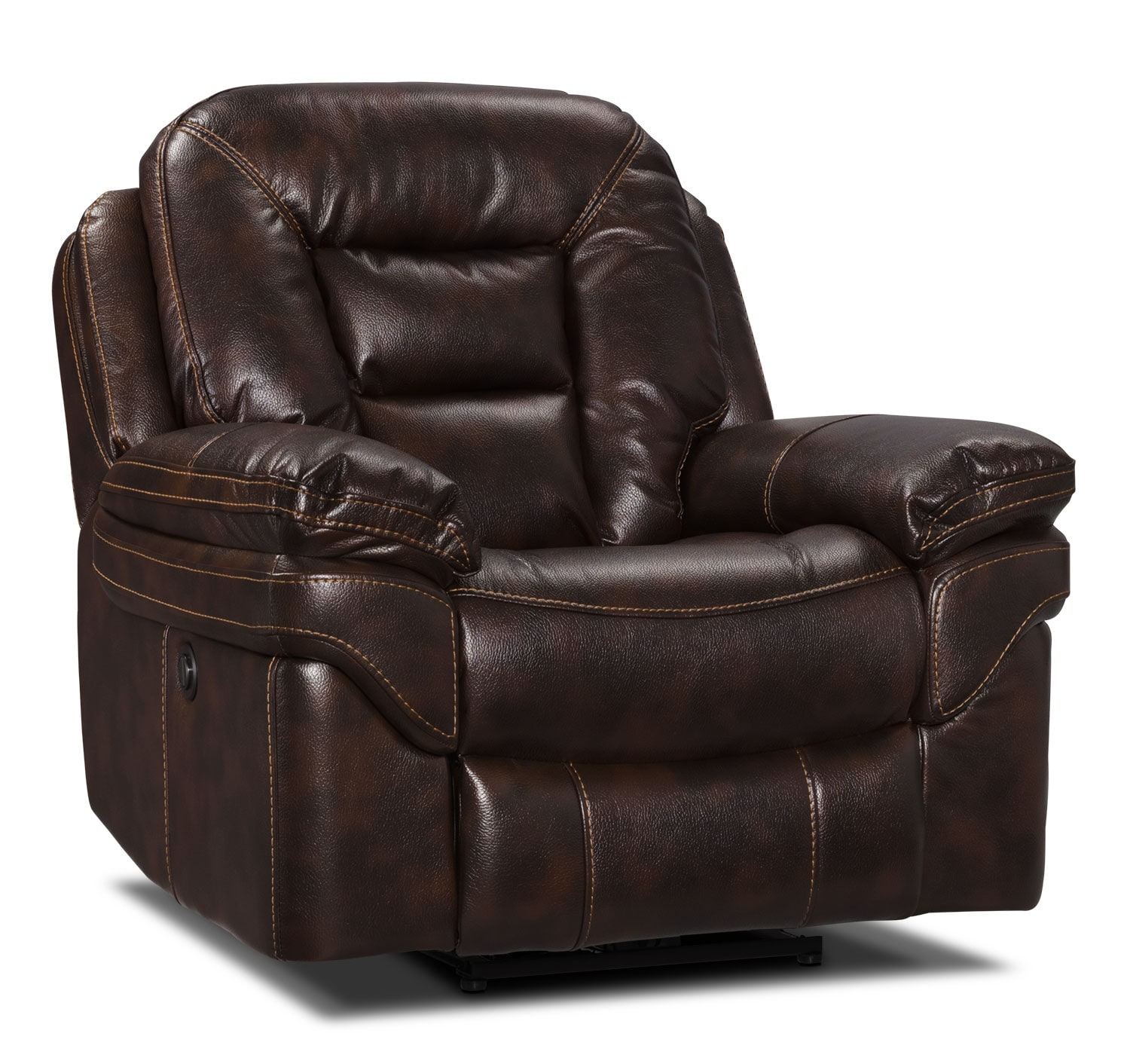 Power Reclining Chairs Leo Leath Aire Fabric Power Reclining Chair Walnut