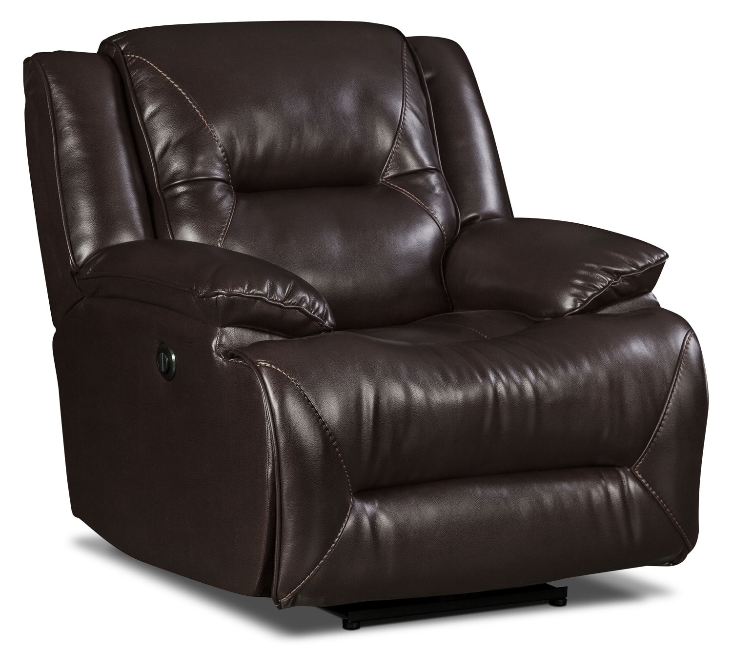 Power Reclining Chairs Lancer Leather Look Fabric Power Reclining Chair Brown