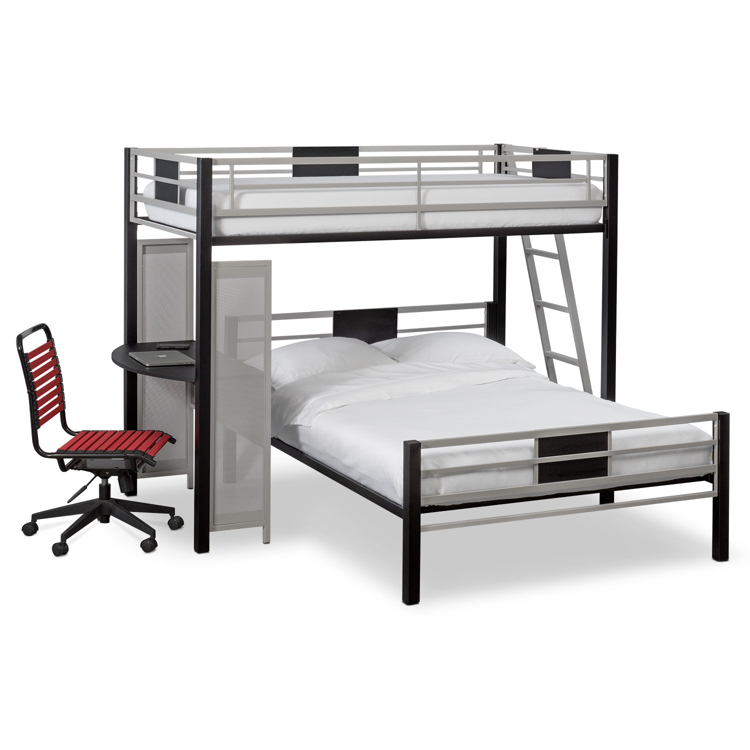 loft bed with desk and futon chair steel accessories samba twin over full matte black