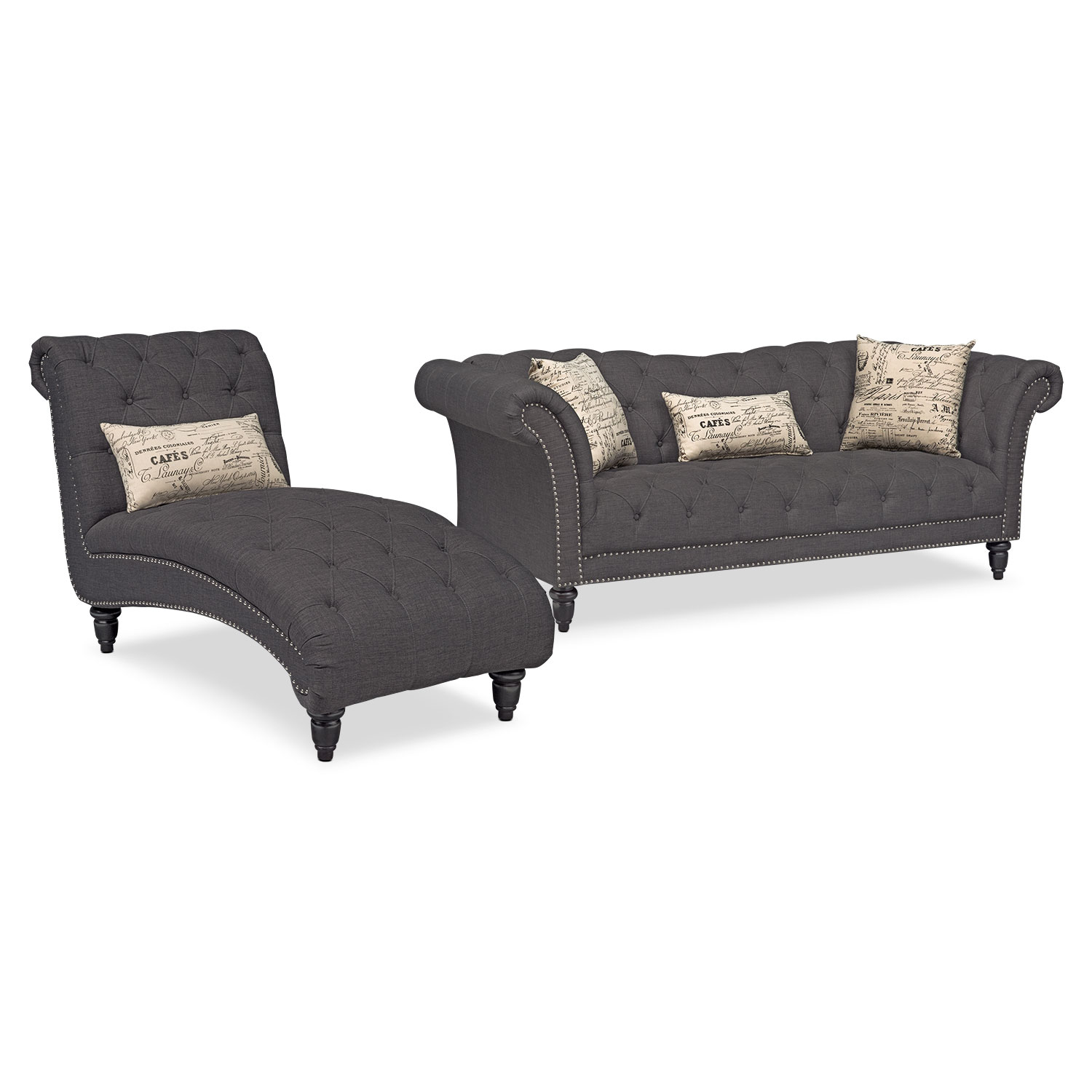 value city furniture marco chaise sofa sofas luxury marisol and set charcoal