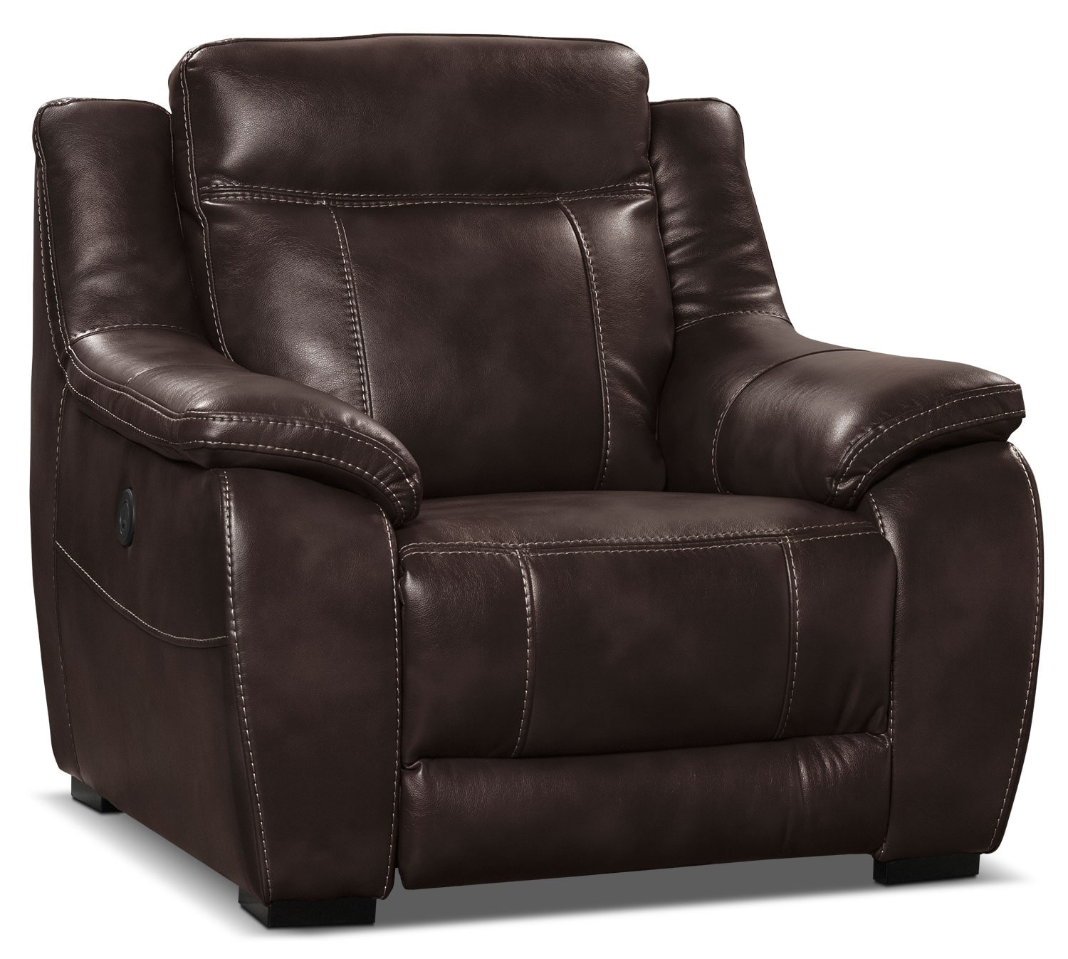 Power Reclining Chairs Novo Leather Look Fabric Power Reclining Chair Brown