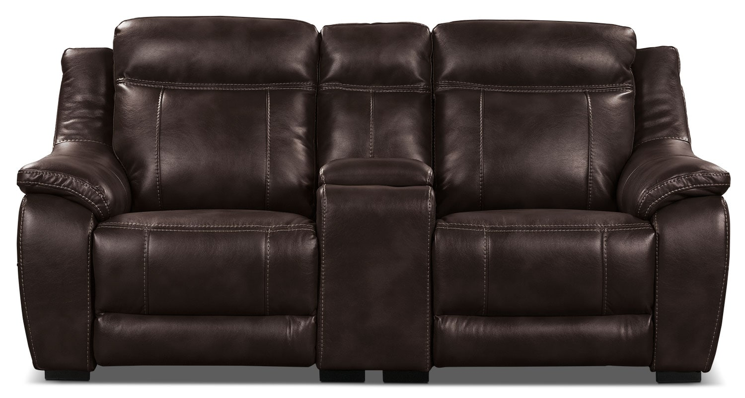 the brick cindy crawford reclining sofa stockists manchester novo leather look fabric power loveseat  brown