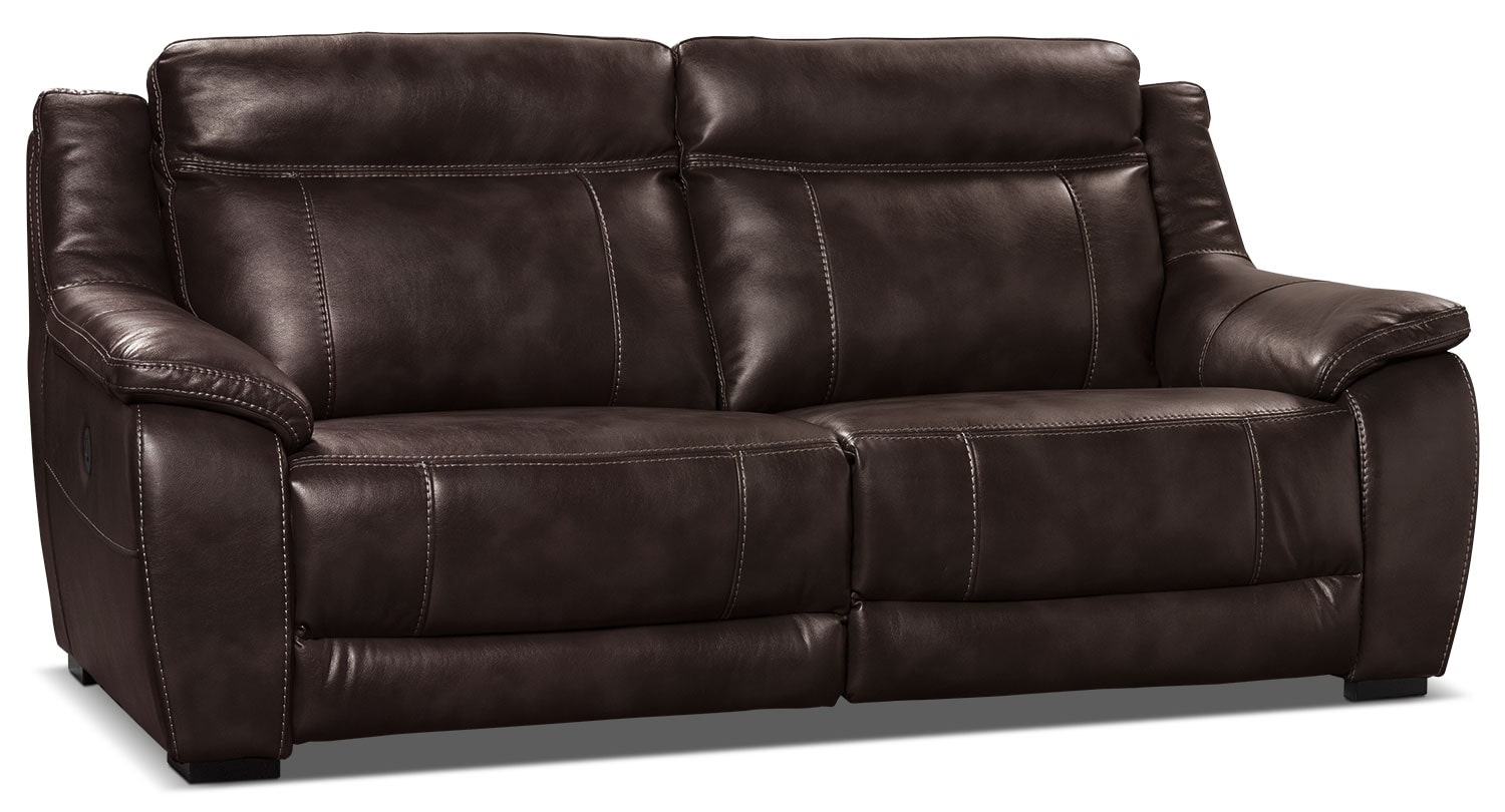 the brick cindy crawford reclining sofa florence bed klik klak knit and gray full novo leather look fabric power  brown