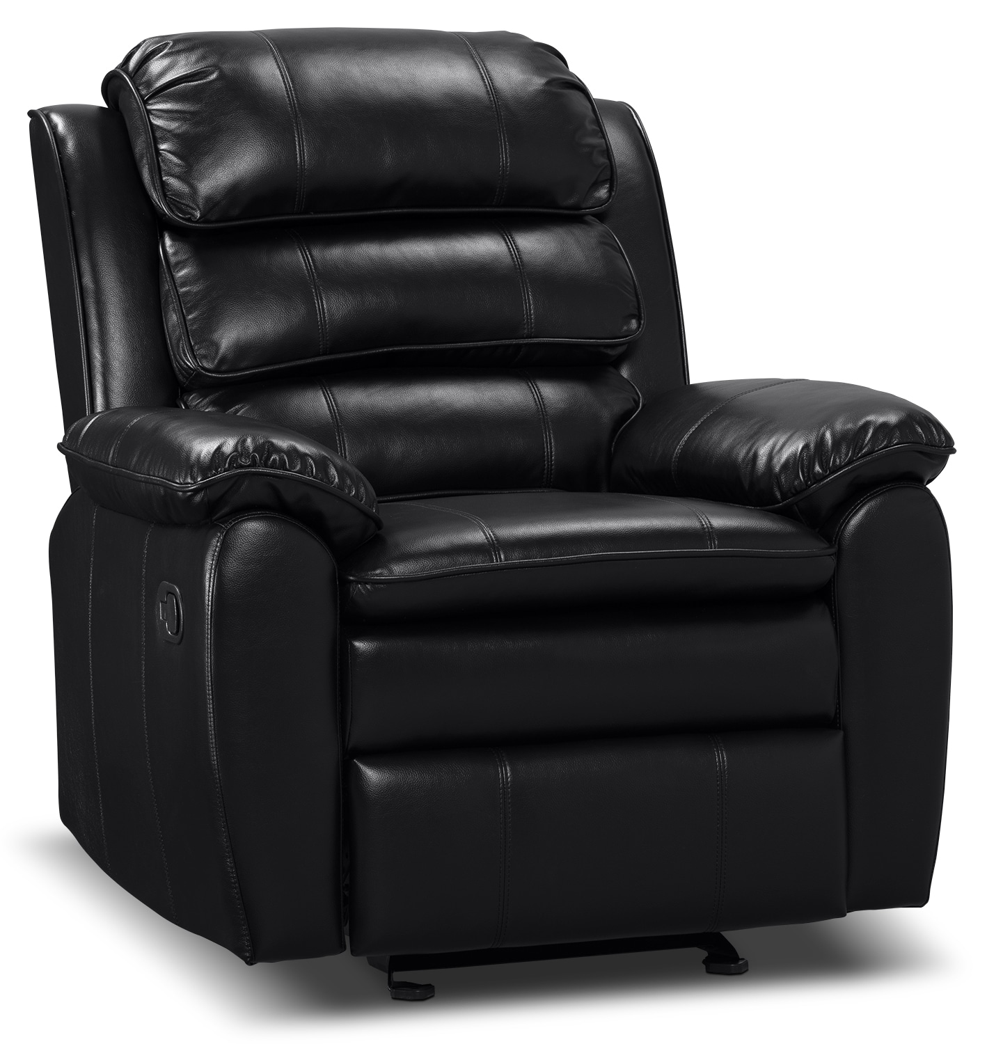 Reclining Leather Chair Adam Leather Look Fabric Reclining Glider Chair Black