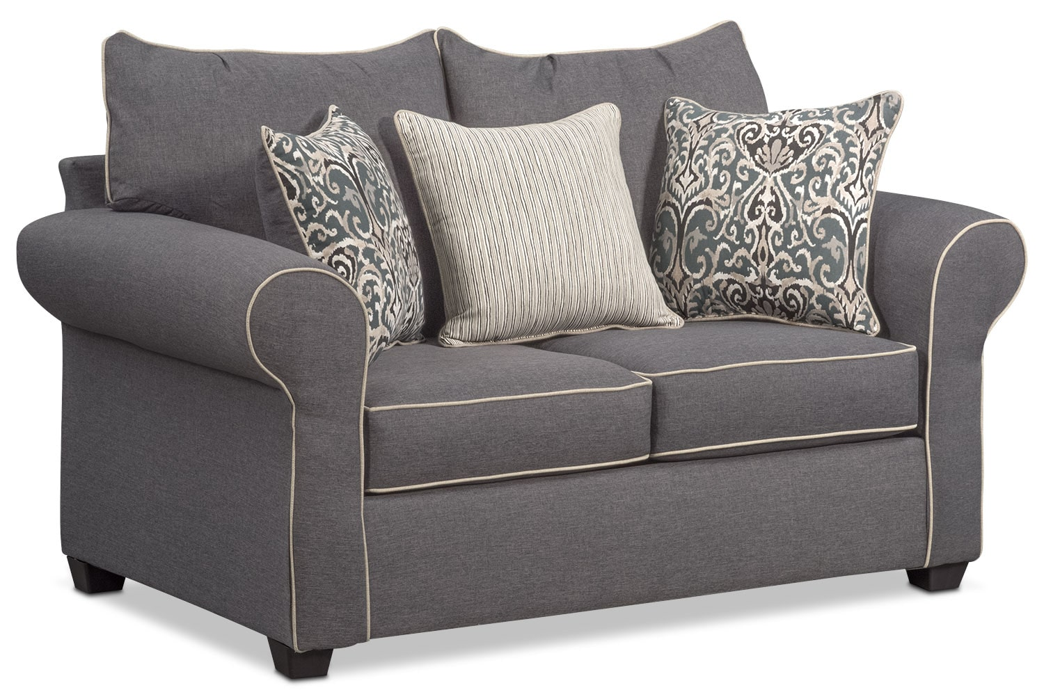 Couch Chair Carla Sofa Loveseat And Accent Chair Set Gray Value