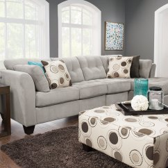 Plush Archer Sofa Bed Price Leons Sectional Designed2b Dez 3 Piece Right Facing Textured Chenille