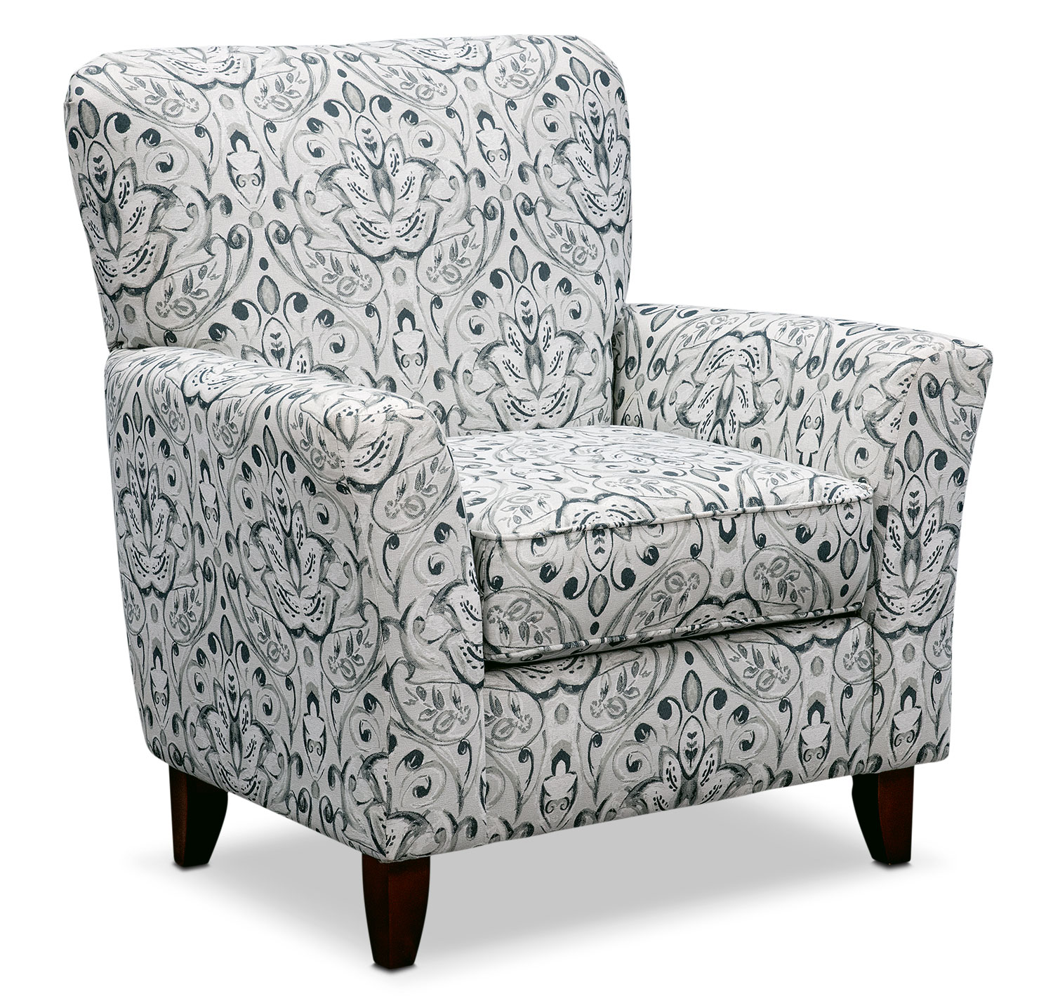 accent chairs under 150 black and white dining chair cushions mckenna multi pewter value city furniture