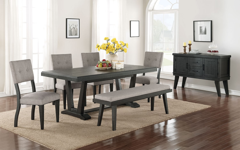 Imari 7Piece Dining Room Set  Black and Grey  Leons
