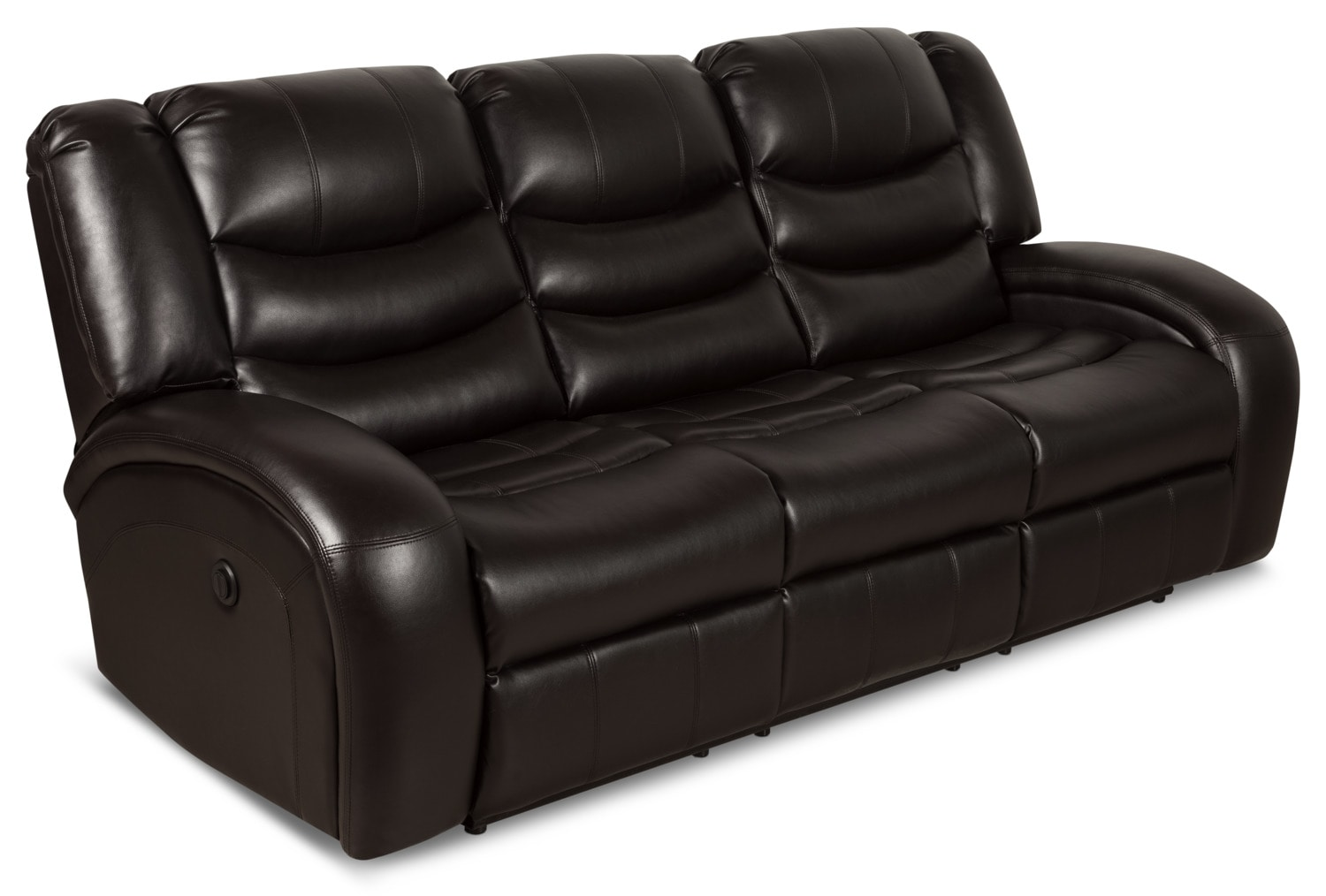 angus bonded leather reclining sofa sofas showroom in bangalore look fabric power  dark