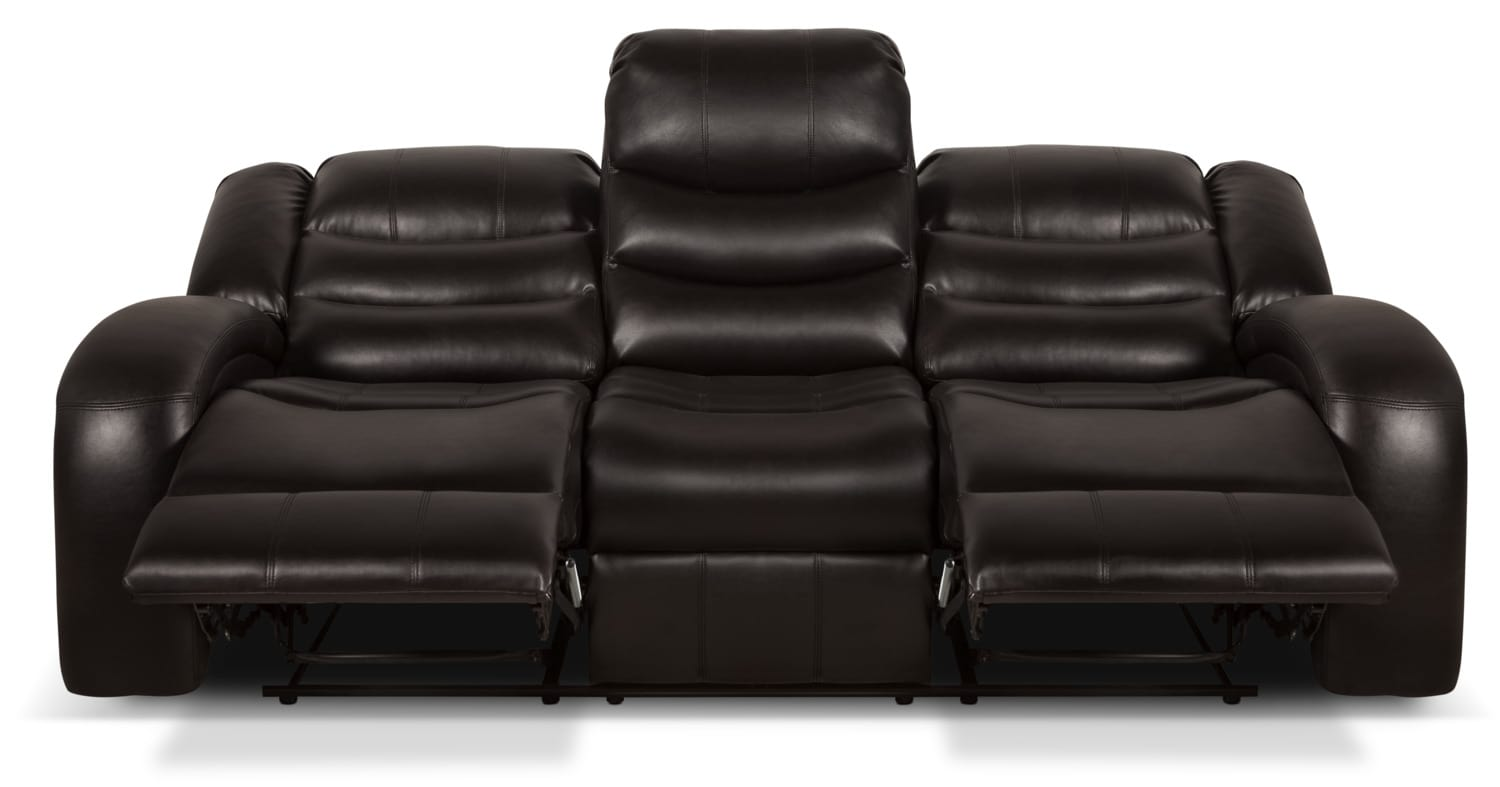 angus bonded leather reclining sofa ter back look fabric  dark brown