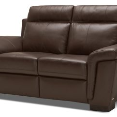 Genuine Leather Power Reclining Sofa Crate And Barrel Couch Bed Seth  Mahogany The Brick