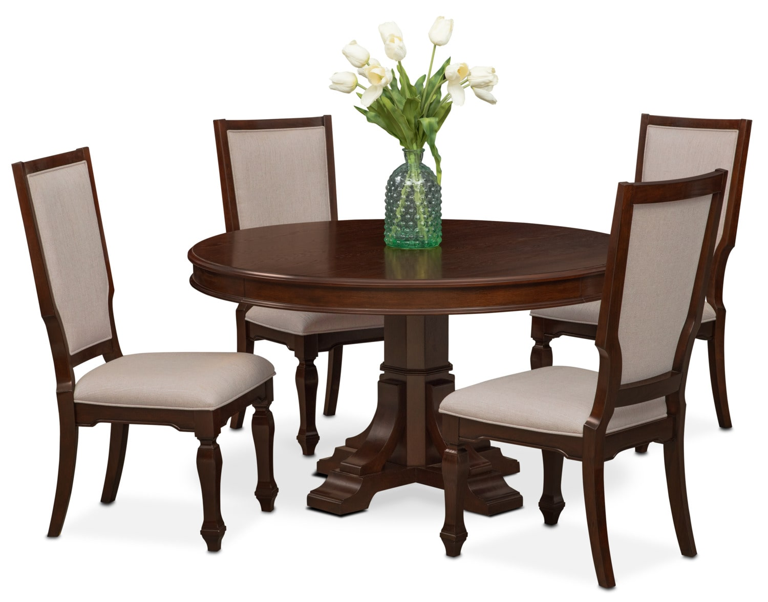 accent chairs for dining room table steel chair price in kolkata vienna round and 4 upholstered side
