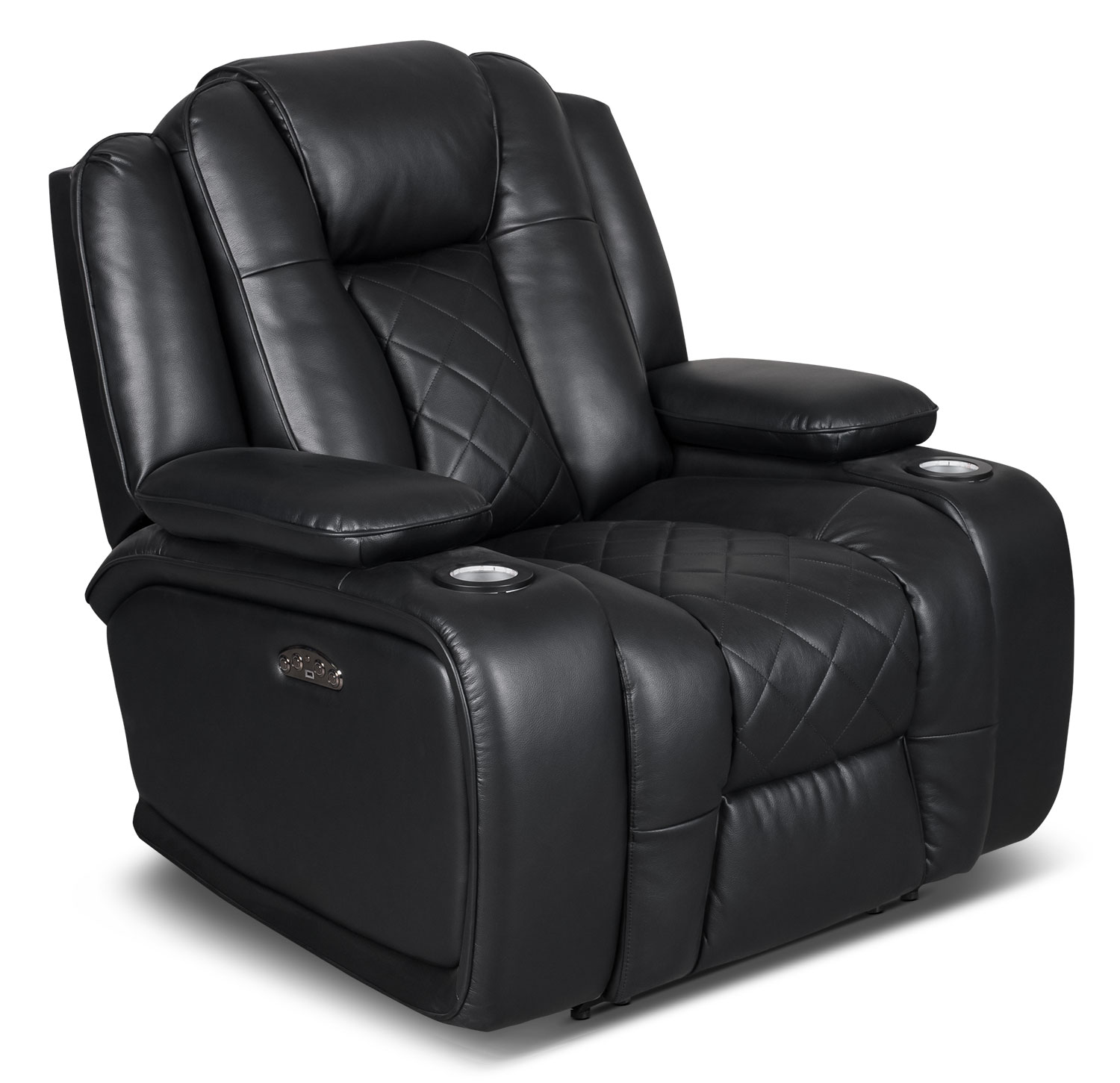Power Reclining Chairs Lonzo Leather Look Fabric Power Reclining Loveseat Black