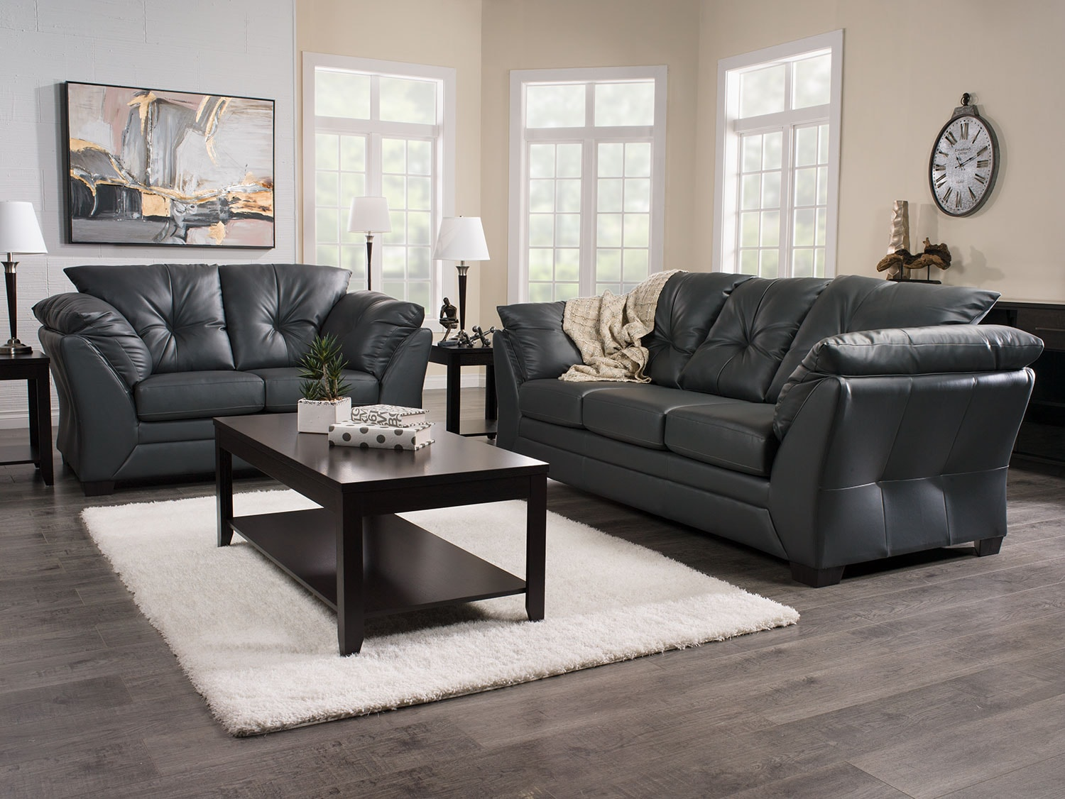 Max Faux Leather FullSize Sofa Bed  Grey  The Brick
