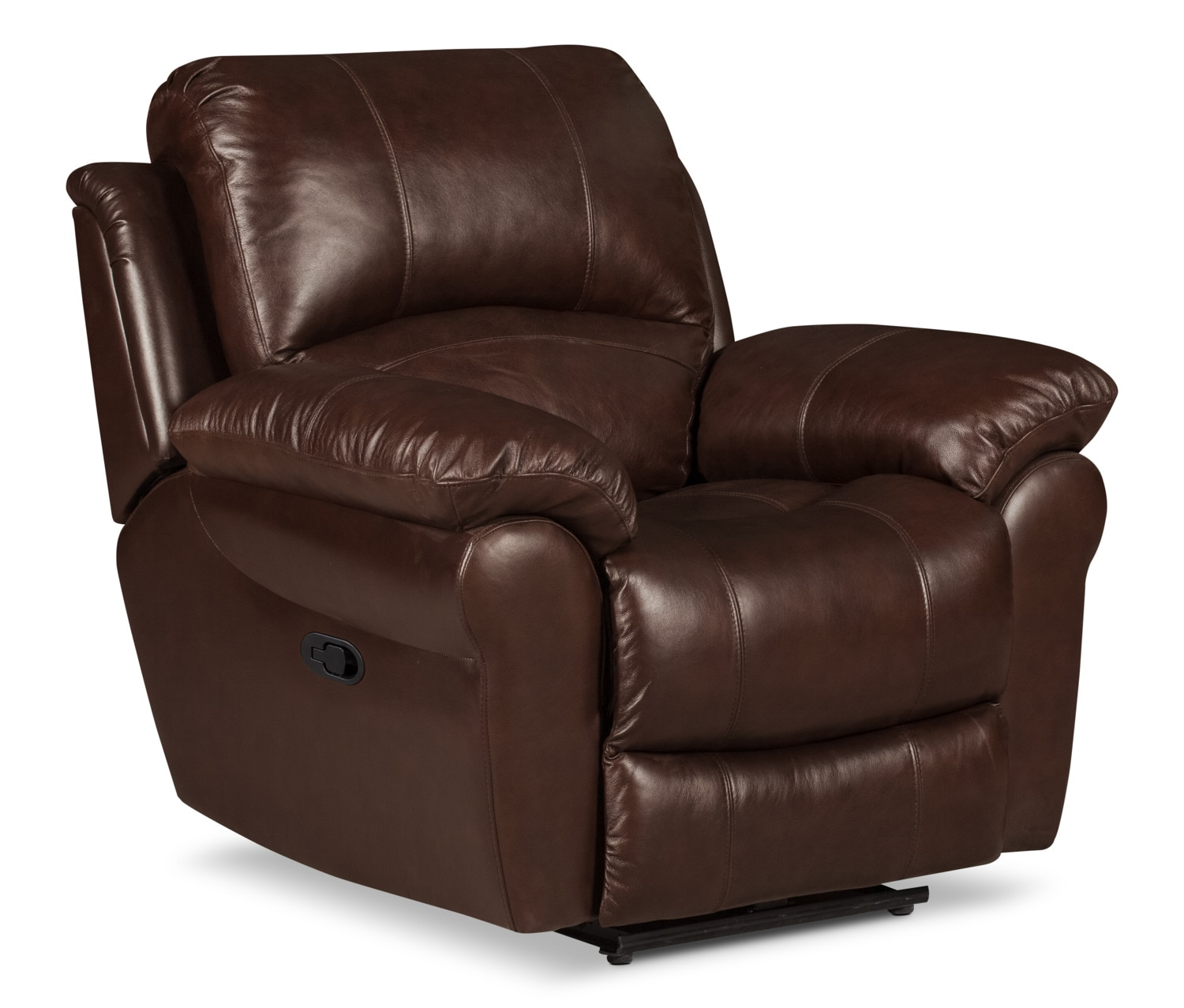 Real Leather Recliner Chairs Kobe Genuine Leather Reclining Chair Brown United