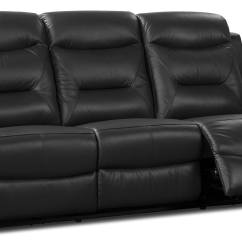 Genuine Leather Power Reclining Sofa Vine Glider Sofas River  Black The Brick