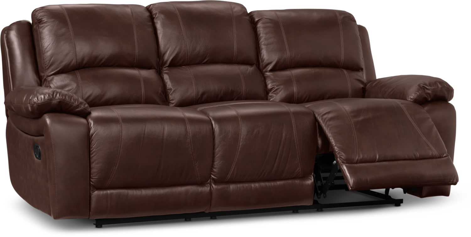 genuine leather power reclining sofa types of sleeper sofas marco - chocolate | the brick