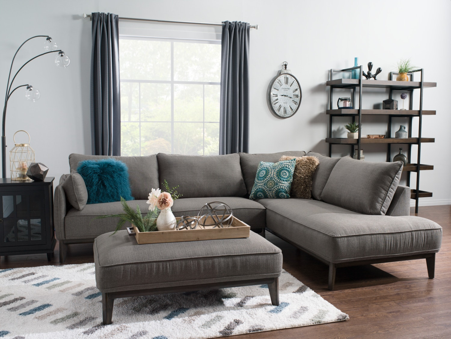the brick cindy crawford reclining sofa whats best thing to clean arms gena 2 piece linen look fabric right facing sectional