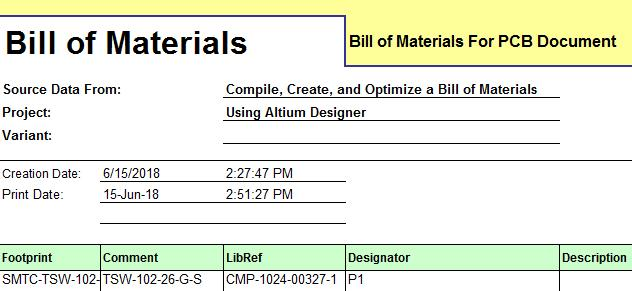 Creating a Bill of Material with PCB Design Software using Altium ...